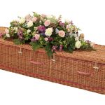 Traditional Willow Coffin with Burgundy Bands